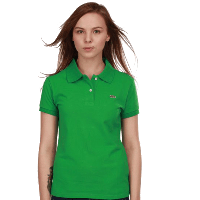 Женское поло Lacoste зеленое
