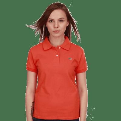 Женское поло Lacoste морковное